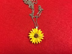 Sunflower Resin Pendant with Stainless Steel by 3GEMerations