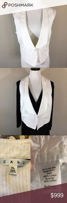 Structured White Vest Structured white vest in a honeycomb textured pattern. One little dingy spot (pictured; possibly could be removed with a good wash) and some loose threading. In other wise great condition. The top button is different from the others, but appears to be original to the vest. Adjustable in the back. Measurements on request. CAbi Jackets & Coats Vests