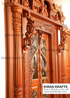 Carved pooja door by kiran enterprises classic Single Door Design, Wooden Front Door Design, Main Entrance Door Design, Double Door Design, Door Gate Design, Wooden Doors, House Main Door Design, Temple Design For Home, Decorative Room Dividers
