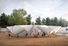 Maidan Tent - Architectural Aid for Europe's Refugee Crisis , © Bonaventura Visconti di Modrone, Leo Bettini Oberkalmsteiner Tent Camping, Camping Hacks, Outdoor Camping, Refugee Crisis, Refugee Camps, Membrane Structure, Camping Shelters, Tensile Structures, Shelter Design