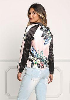 Pink Silky Color Block Floral Bomber Jacket