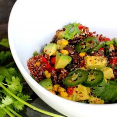 INGREDIENTS: -2-3 Hass Avocados, Halved / Seeded / Chopped -1 1/2 Cups Water -1 Cup Red Inca Quinoa, uncooked -3/4 Cup Black Beans -1/2 Cup Sweet Corn Kernels -2 Roma Tomatoes, Diced -1 Red/Orange Bell Pepper, Diced -1 Jalapeno, Sliced Thin -1/2 Sweet Onion, Finely Chopped -1/3 Bunch Fresh Cilantro