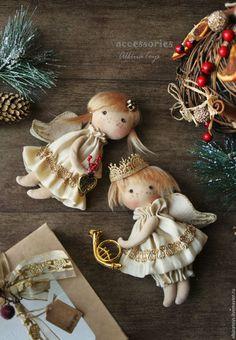Купить Новогодний интерьер. Винтажные новогодние ангелочки. Елочные игрушки - елочное украшение, елочные игрушки