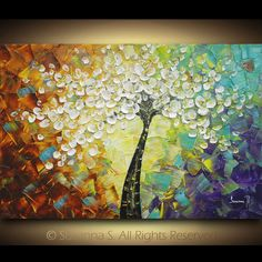 """""""Tree of Joy""""  Artwork description: white floral tree on multicolored abstract background -Size: 36"""" x 24"""" x 1.7"""""""