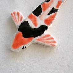 small koi handmade ceramic tile  SOLD