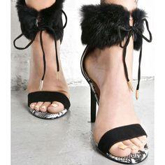 Black Fur Ankle Heels