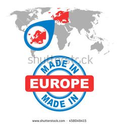 Made in Europe stamp. World map with red country. Vector emblem in flat style on white background.