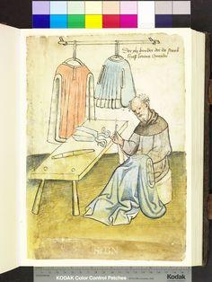 Tailor with ell-stick on table. Die Hausbucher der Nurnberger Zwolbruderstiftungen. Amb 317.2 ° folio 18 recto. c. 1425. German.