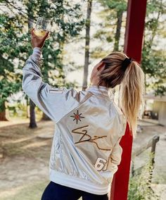 """The Denim Blonde on Instagram: """"Ask and you shall receive! 🤍 Our satin bombers are now available on our site to shop & customize! They come in SO many colors, what's your…"""" Hockey Outfits, Graphic Sweatshirt, Satin, Denim, Sweatshirts, Colors, Sweaters, Jackets, Shopping"""