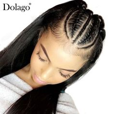 360 Lace Frontal Wig 150 Density Straight Lace Front Human Hair Wigs For Women Pre Plucked Full Ends Black Dolago Remy Straight Box Braids Hairstyles For Black Women, Try On Hairstyles, Frontal Hairstyles, Front Braids, Curly Braids, Curly Hair Styles, Natural Hair Styles, Natural Curls, Curl Styles