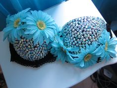 Turquoise Disco Daisy Rave bra 32D by NewRaveCouture on Etsy, $60.00