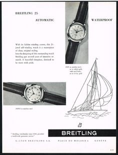 Vintage 1956 Breitling Model 25 Wrist Watches Print Ad. #breitling #model25 #sailing #watch #watches #vintage #ads #stawc