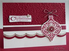 Elegant_Ornament: Raspberry Ripple in combination with textured white and silver glimmer paper. -