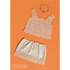 Conjunto de falda y top para tejer a #crochet en algodón rústico.   #DIY #ganchillo #patron #muestras #hazlotumismo #labores #bañadores #bikini #complementos #verano #summer #playa #beach #bolso #bag #moda #sun #skirt #t-shirt