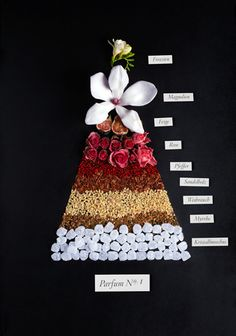 "this is a really cool way of displaying what goes into a certain ""parfum no I"". by Sarah Illenberger"