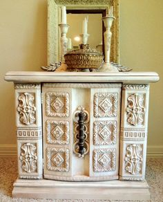 "Spanish Inspired Carved Night Stand  27"" L x 16 1/2"" W x 24 1/2"" H"