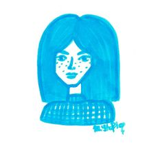 marker drawing blue girl with freckles by @maggie_creates_