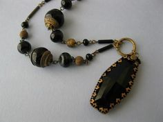 Vintage 1930s Art Deco Czech Onyx Black Glass Pendant Necklace | eBay