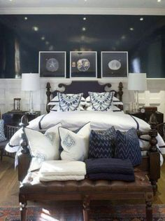 Navy Bedroom Ideas. master bedroom  navy blue coastal design with glossy walls paint color black bed tapered glass lamps wood nightstands 10 Charming Navy Blue Bedroom Ideas Master