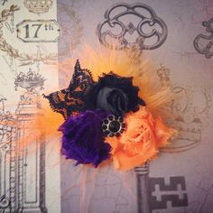 Orange, Black, Purple, Shabby Chic Halloween Clip Headband on Etsy, $10.50