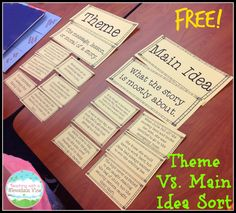 Free Main Idea vs Theme Sort Determining the main idea of a story is tricky but throw in theme and things get even more muddled Help your students see the difference betw. Reading Lessons, Reading Skills, Teaching Reading, Reading Strategies, Learning, Guided Reading, Reading Homework, Reading Task Cards, Teaching Literature