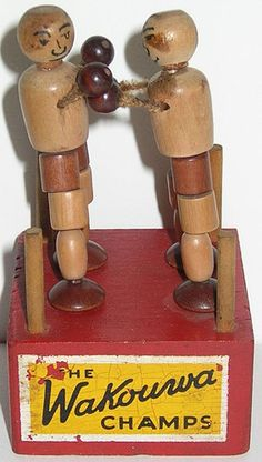 antique, WAKOUWA CHAMPS, boxing toy, made in USA, marked on the bottom Creepy Toys, Corn Hole Game, Vintage Box, Toy Boxes, Antique Items, Puppets, Baby Toys, Wooden Toys, Champs