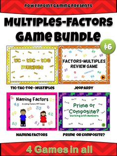 Here I've bundle all 4 of my multiples and factors powerpoint games. Includes Multiples Tic-Tac-Toe, Naming Factors PPT Game, Prime or Composite PPT Game, and Factors-Multiples Review Game.  Also includes exclusive worksheets you can only get with this bundle!  Each game has 20 plus time related questions including analog clocks. Great for review before a test!   Save $2 when you buy the bundle!