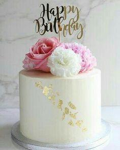 White Birthday Cakes, Elegant Birthday Cakes, Birthday Cake With Flowers, Pretty Birthday Cakes, Happy Birthday Cakes, Cake Birthday, Woman Birthday Cakes, Grandma Birthday Cakes, 40th Cake
