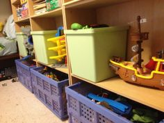 Start with the right containers! Organizing kids toys in bins is great because they can just toss toys in and it still looks organized. Lots of simple tips on this site.