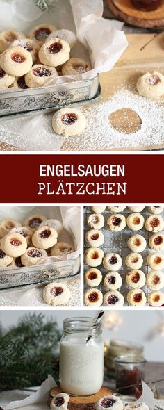 "Leckere Plätzchen ""Engelsaugen"" backen, Weihnachtsbäckerei / christmas cookies: recipe for butter cookies with jam filling via DaWanda.com"