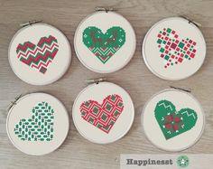 modern cross stitch heart nordic folk art snowflakes by Happinesst