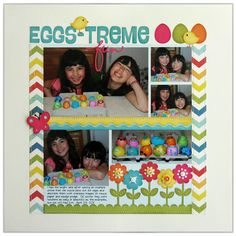 """An Echo Park Easter layout by Mendi Yoshikawa. """"About a Boy"""" collection papers and SVG cutting files designed by Lori Whitlock."""