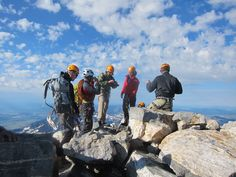 This is a group of guys my friend and I summited Grand Teton (elev 13,770 ft) with on 8.20.11.  Gorgeous morning!