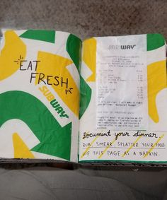 Wreck This Journal - Document your Dinner Subway