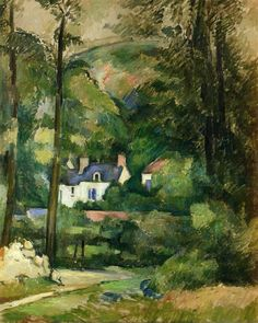 """""""Houses in the Greenery""""  --  1881  --  Paul Cezanne  --  French  --  Oil on canvas  --  Private Collection"""