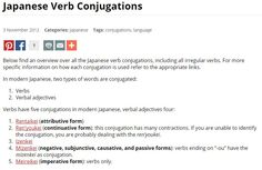 Japanese Verb Conjugations | Japanese Language | Pinterest ...