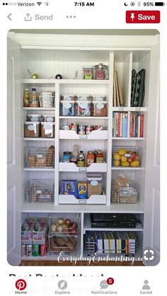 The perfect pantry is both functional, and beautiful. Check out these 10 pretty pantry organization ideas to inspire your next pantry makeover! Kitchen Wall Storage, Kitchen Pantry Design, Kitchen Pantry Cabinets, New Kitchen, Kitchen Small, Storage Jars, Wall Pantry, Pantry Room, Kitchen Ideas