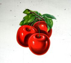 Large + vintage Dennison die-cut cherries, made from lightweight cardboard. These cherries can be hung when the small hole at top is popped open.