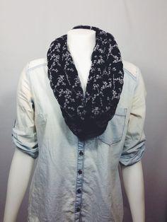 Floral Infinity Scarf-Black Scarves on Etsy, $15.00 CAD
