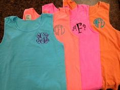 Monogrammed Comfort Color Tank Top -Great for Graduation Gifts, Beach Cover Ups, Wedding Parties, Greeks, and women of All Ages. $17.00, via Etsy.