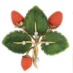 """Gold, Carved Nephrite, Coral and Diamond Strawberry Brooch -  18 kt. 1 11/16 x 1 7/8""""."""
