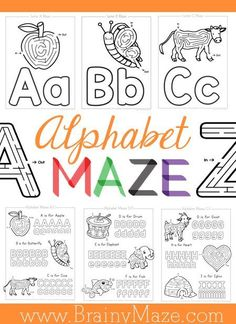 Alphabet Maze Worksheets, perfect for Alphabet Curriculum supplements.  Two levels available, beginning letter and handwriting worksheets: