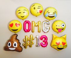 OMG! Its an EMOJI Party :) **You can pick whatever age you want, just put the age in the notes :) **Look in the dropdown menu for set choices This Listing Includes: * Set of NON FLOAT Balloons spelling out OMG or you can add on a personal # and Number of your choice * Twine to hang as a Banner * Straw for Inflating Each Letter PLEASE NOTE: * Each Letter will measure approximately 13.5 INCHES Tall once Inflated. * The Letters are AIR FILL ONLY and WILL NOT FLOAT even if you try to add…
