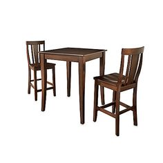 Crosley Pub Dining Set with Cabriole Legs and Shield Back Stools (3-Piece Set)