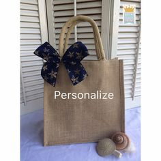 Jute Tote Bridesmaid Gift Jute Bag Anchor Tote by QueensBanners
