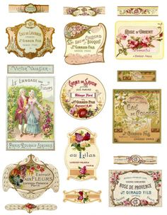 The labels used in the example pictures are made with some of my other perfume label sheets but I added them just to give you an idea of what Shabby Vintage, French Vintage, Decoupage Vintage, Printable Labels, Printables, Brochure Paper, Vintage Labels, Printable Vintage, Vintage Perfume