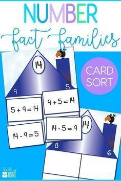 Addition and subtraction  fact families fun card sort will have your second grade students understanding the relationship between addition and subtraction in no time. Greater for small groups and math centers. #factfamilies #numberfactfamilies