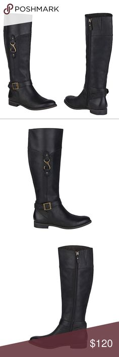 Sperry Victory Cadence Riding Boots Black Leather NWT & box. Sperry Victory Cadence Riding Boots Black Leather. These boots were made to turn heads! The Victory Cadence Boot sports premium leather materials and signature fish hook hardware that looks great day and night. Side zip for easy on/off wearing. Non marking rubber outsole. Size 5.5. No modeling/trades. Sperry Shoes Over the Knee Boots