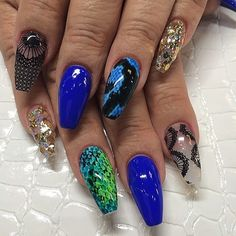 Full set with design $55 blue, lave print, snake skin, gold art coffin or ballerina nails by #laquenailbar #getlaqued by laquenailbar http://ift.tt/1feaotq