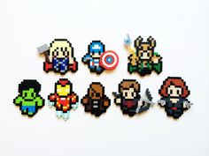 The Avengers and Loki Movie Style Perler Sprites - Choose 1 or Full Set of 8